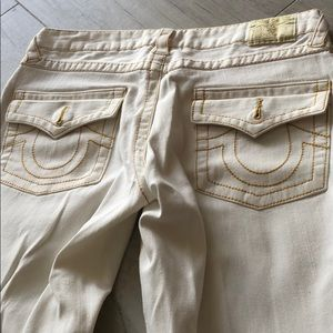 True Religion White and Gold seam jeans